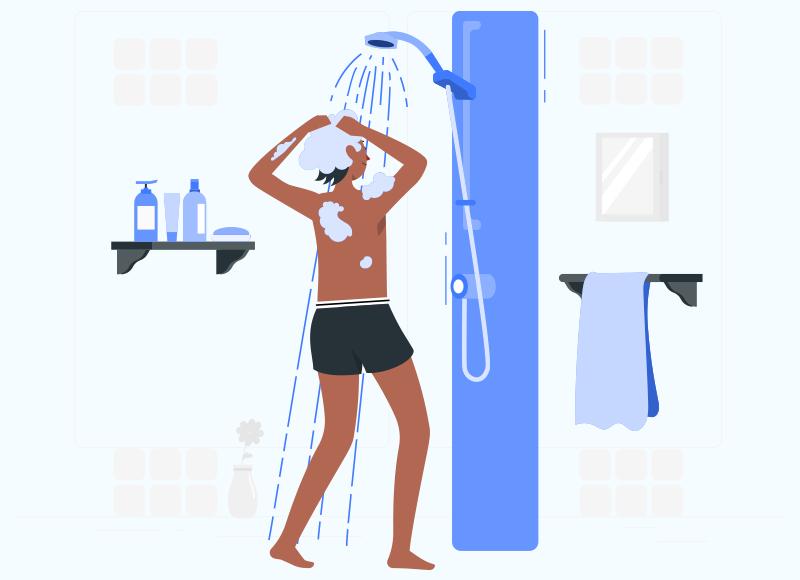 ilustração de mulher tomando banho de roupa