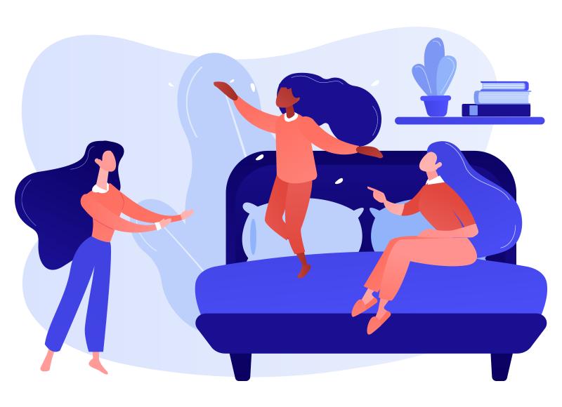 animação que mostra três personagens femininos com as mãos para o alto